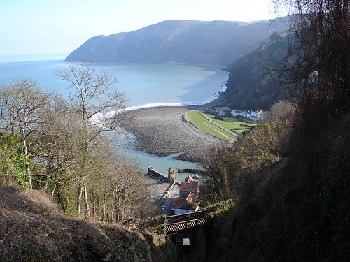 Lynmouth from the air.. on the Cliff Railway to Lynton, 500ft up.