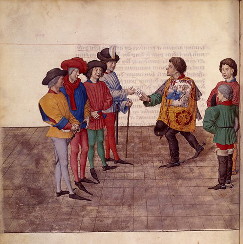 008-Le libre des tournois…1460- René d' Anjou-Français 2692, fol. 14v-rey de armas y jueces narradores