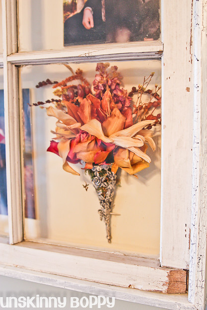 old wooden window dried flowers