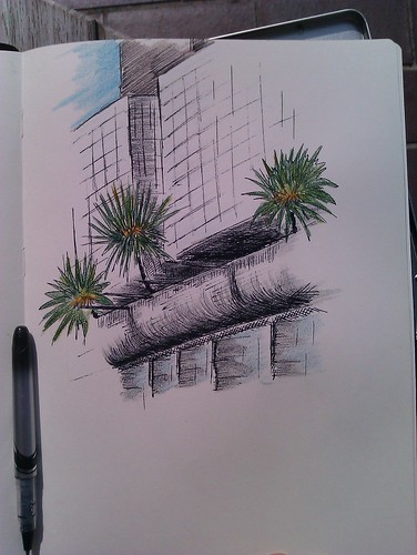 Palm trees at Barbican (coloured)