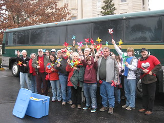 Bus group pic w/ 300 pinwheels