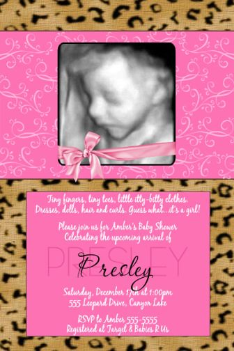 pink leopard cheetah print baby shower invitations flickr photo