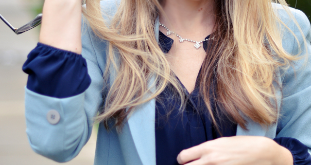 rhinestone necklace-blue blouse and blazer