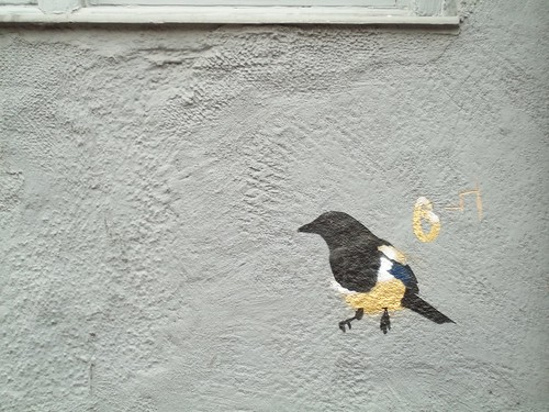 Magpie Number 6, painted on a wall in Division Street, Sheffield, by John Dowswell