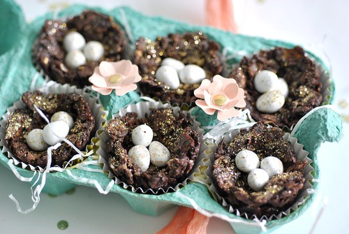 Decadent mini chocolate nests