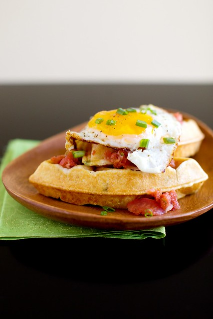 Cornmeal Chive Waffles with Salsa and Eggs