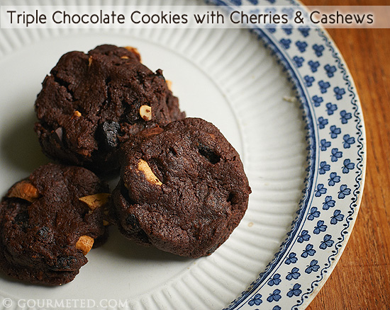 Triple ChocolateCookies with Cherries & Cashews