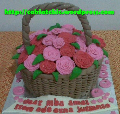 Kue ulang tahun dengan tema Cake Keranjang Bunga model ini mulai dari