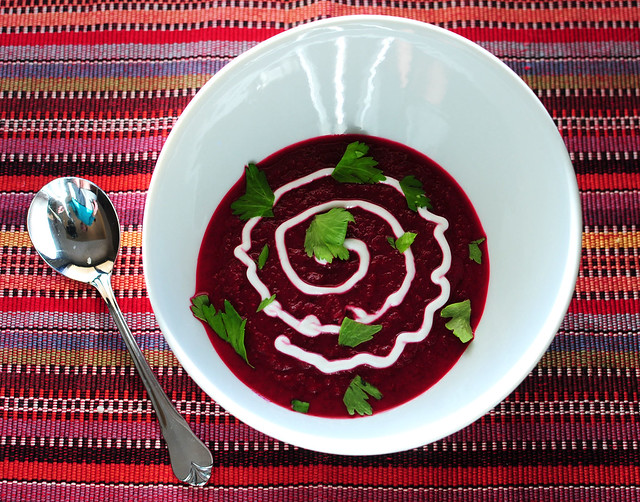 beet soup, it'll stain your teeth