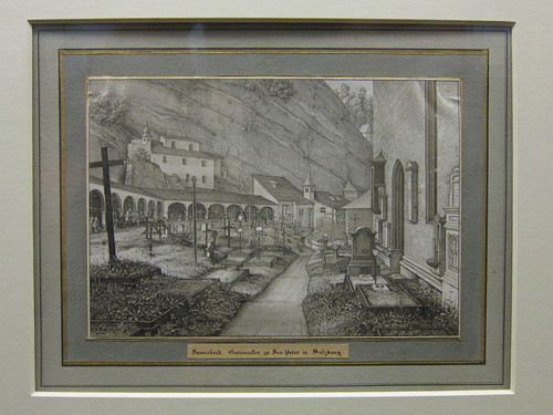 German lithograph - Saturday, Graveyard of St. Peter's in Salzburg, 1823