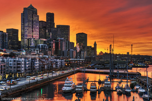 seattle red marina sunrise reflections fire pier washington colorful downtown downtownseattle pier66 seattlewaterfront bellharbor