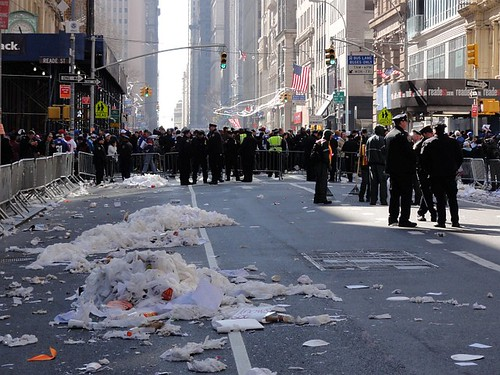 New York Giants Homecoming parade litter