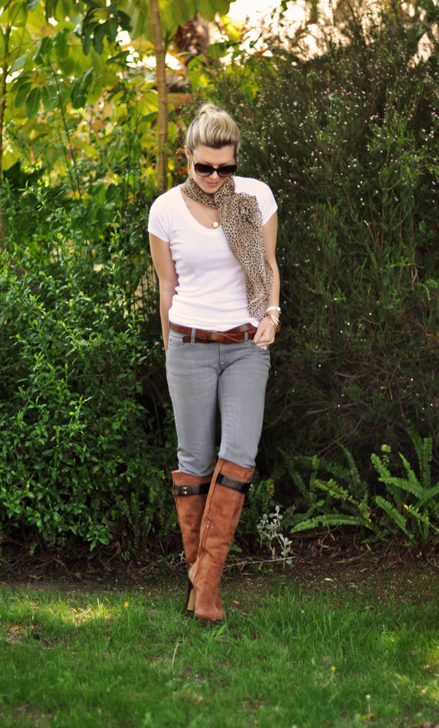 gray jeans- white t - brown boots