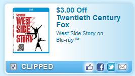 $3.00 Off West Side Story On Blu-ray  Coupon