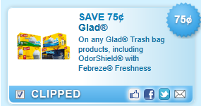 Glad Trash Bag Products, Including Odorshield With Febreze Freshness  Coupon