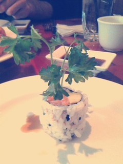 spicy salmon roll, presented like a flower with this in the center :)