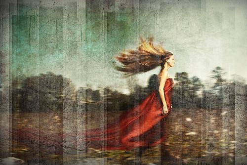 [フリー画像素材] グラフィック, フォトレタッチ, 人物, 女性, 人物 - 横顔・横を向く, ワンピース・ドレス, 髪がなびく ID:201203190800