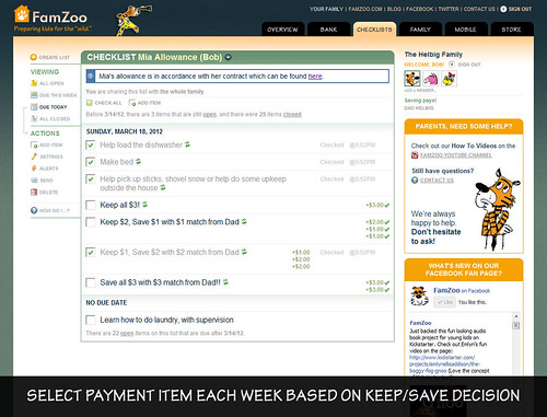Making Payments Each Week Based on Keep/Save Decisions