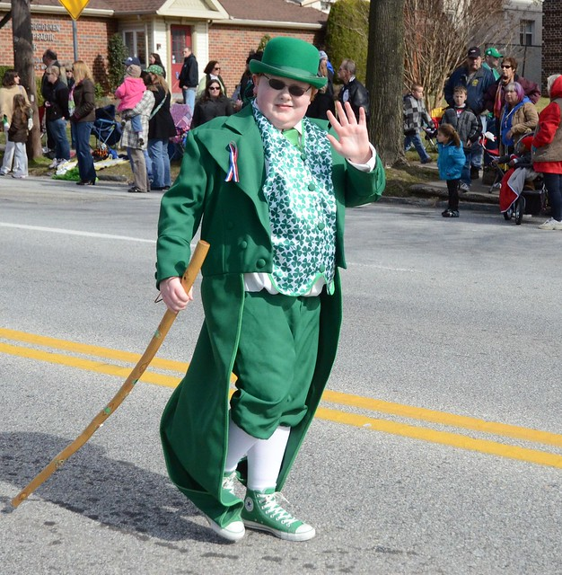 A leprechaun passes by