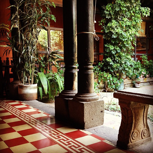 Inner patio of Café Condesa, la Antigua Guatemala.