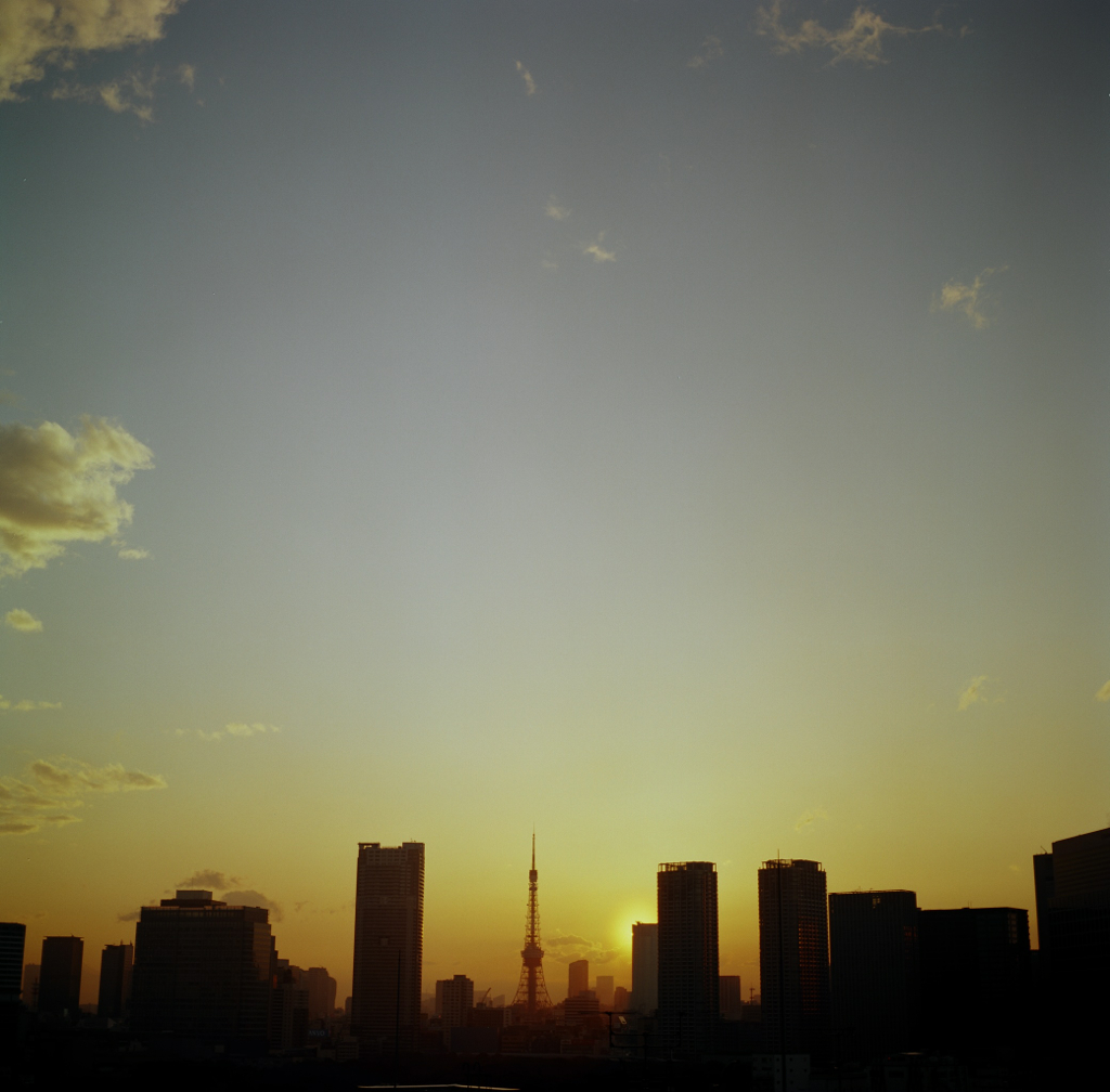 sunset and Tokyo tower
