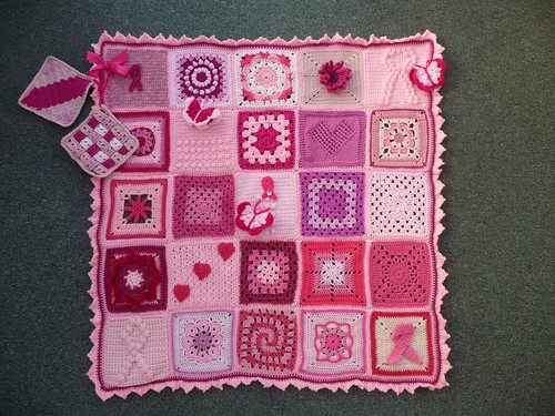 'Think Pink' Blanket for 'Breast Cancer Care'. Assembled by Lotti. (1).