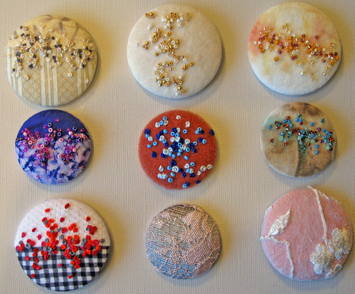 Buttons; embroidered with french knots and beaded