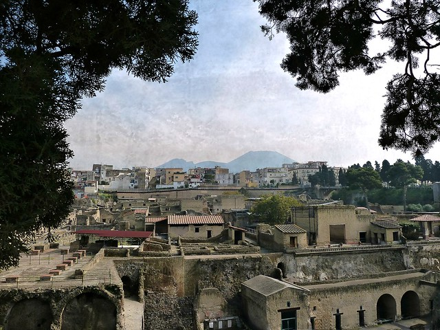 excavations of Herculanium with a panoramic view of  Ercolano and Vesuvius