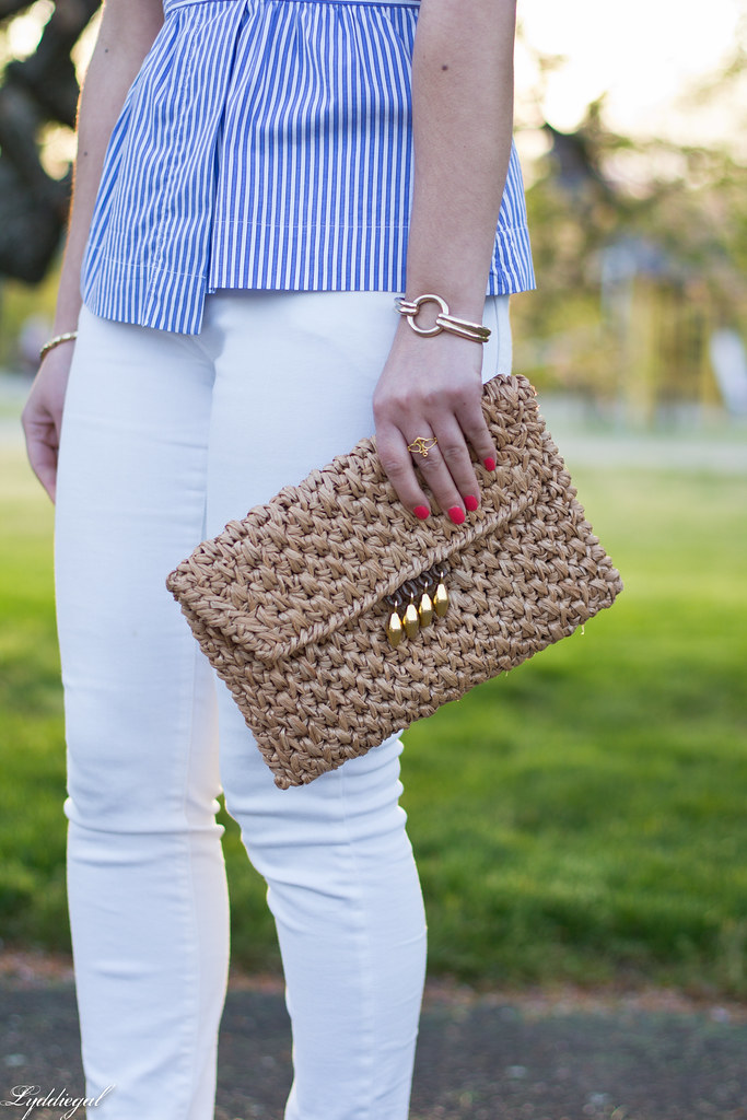 striped peplum top, white jeans, straw clutch-5.jpg