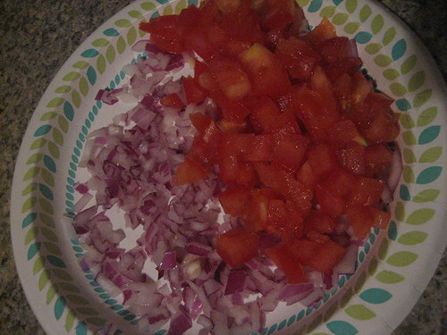 IMG_4093  quarter red onion and plum tomato chopped