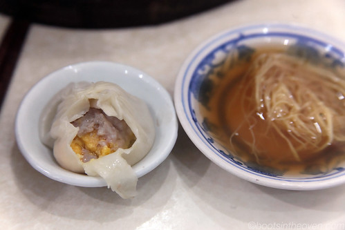 Pork and Salted Duck Egg Xiao Long Bao with dipping vinegar and ginger