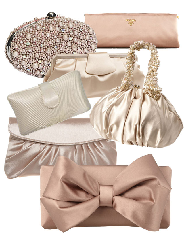 satin blush evening clutches for wedding