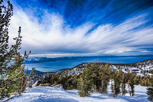 california mountain lake clouds landscape nevada tahoe heavenly hdr
