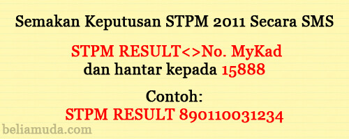 Semakan Keputusan STPM 2011 secara SMS