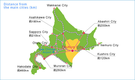 Map showing Tokachi and distance from major cities in Sapporo