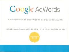 Google AdWords ディスプレイ広告の上級者向け試験 認定証書