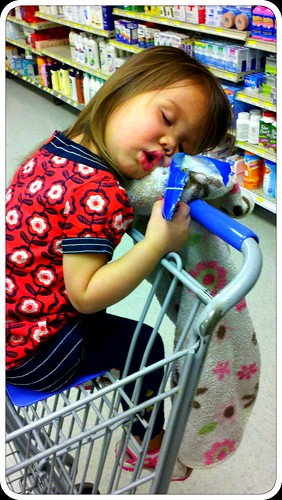 Fell asleep grocery shopping.
