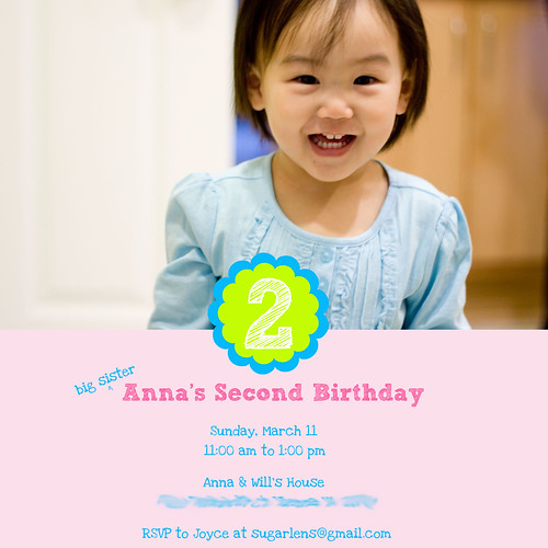 Anna 2nd Birthday Invitation