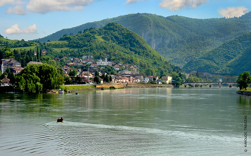 bridge mountains water river boat town hills slopes visegrad drina bosniaandherzegovina digitalcameraclub ivoandric