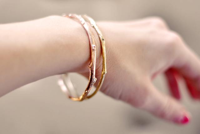 gold and rose gold  tree branch bangle bracelets
