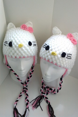 Crochet hello kitty hats