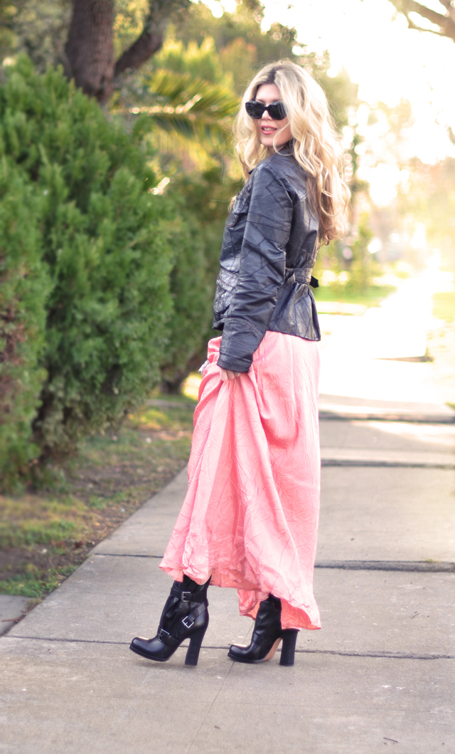 SJP Pink skirt Leather jacket  -  look