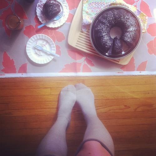 vegan cake and leg candy
