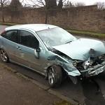 Car after headon accident