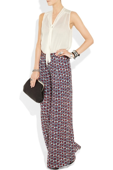 Pajama Look wide-leg printed silk-crepe pants