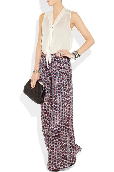 Pajama Look wide-leg printed silk-crepe pants