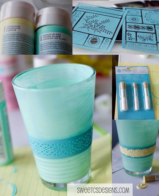 Painted Glass Vase Sweet Cs Designs