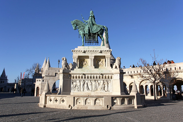 The St. Stephen statue in the Fisherman's bastion