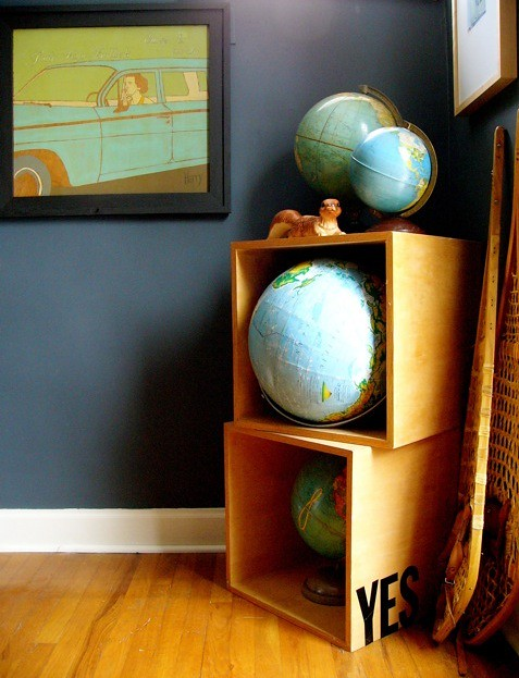Maps as globes in handmade boxes, via Scenic Wonders