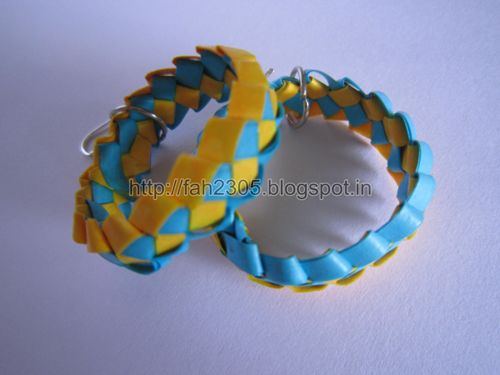 Handmade Jewelry – Paper Strips Knot Hoops (Blue-Yellow) 2 by fah2305